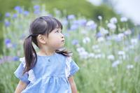 見上げる日本人の女の子