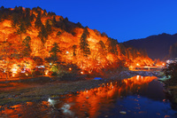 愛知県 香嵐渓 巴川と待月橋 夜景
