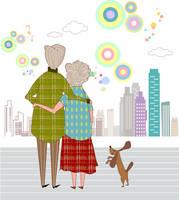 イラスト 寄り添う老夫婦
