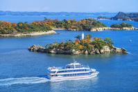 宮城県 紅葉の松島と遊覧船