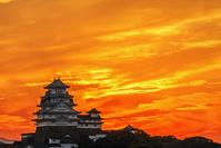 兵庫県 夕焼けの姫路城