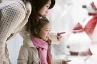 クリスマスのディスプレイを見る日本人親子