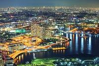 神奈川県 横浜ランドマークタワーより望む横浜市街地と都心の夜景