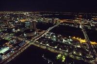 夜の有明 市場前 新豊洲周辺より東京湾