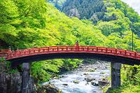 栃木県 新緑の神橋と大谷川