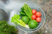 清流で野菜を冷やす