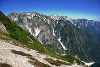 長野県 北アルプス・八方尾根から白馬鑓ヶ岳や白馬岳方面望む