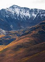 山岳地帯のツンドラ紅葉