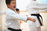 空手の稽古をする日本人の子供たち
