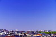 北海道 青空と住宅街の丘