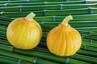 野菜 青竹の上のコリンキー かぼちゃ