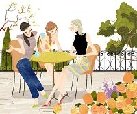 カフェテラスでくつろぐ女性たち