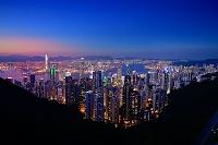 中国 香港 香港島ヴィクトリアピークからのヴィクトリア湾の夜景