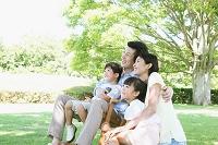 木蔭で佇む日本人家族