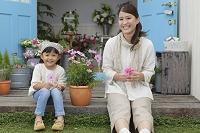 コスモスを持っている日本人親子