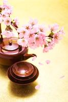 お神酒セットと桜の花