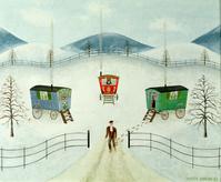 Gypsy Caravans in the Snow, 1981 (oil on board)