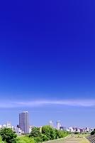 北海道 豊平川河川敷の公園と高層ビル群