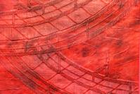 小紋の赤帯