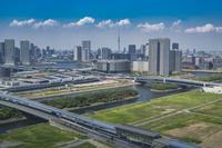豊洲市場と豊洲周辺のビル群