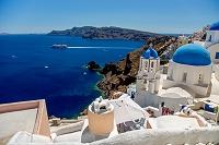 ギリシャ サントリーニ島 北端 イアから眺めるエーゲ海 ピレ...