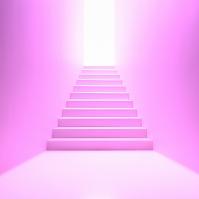 階段の先の光 ピンク