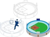 野球場とバットを振るビジネスマン