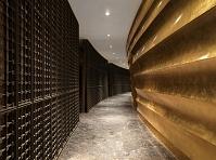 金色の壁と大理石の床の通路