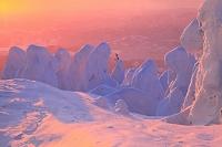山形県 蔵王の樹氷と夕焼け