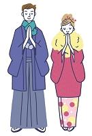 イラスト 初詣和服のカップル