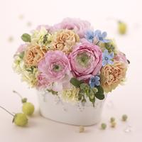 春 アレンジメント ピンク ラナンキュラス カーネーション