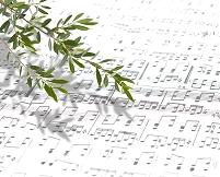 楽譜とオリーブの木