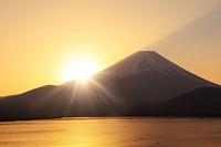 山梨県 朝日昇る富士山と本栖湖
