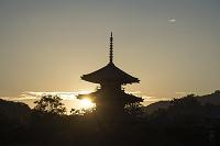 奈良県 法起寺 三重塔と夕日