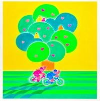 樹と自転車