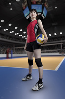 遠くを見る女子バレーボール選手