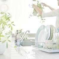 キッチンにある食器と植物の手入れをする女性