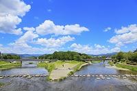 京都府 賀茂大橋から見る賀茂川と高野川の合流地点