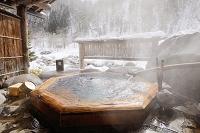岐阜県 雪の露天風呂