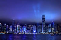 中国 香港 九龍からシンフォニー・オブ・ライツの夜景