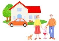 三人家族と車と一軒家