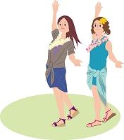 フラダンスを体験する若い女性
