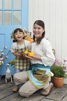 ハロウィンと花屋で働く親子