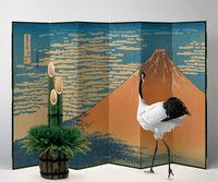 門松と屏風絵と鶴