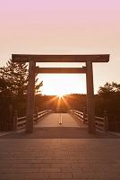 三重県 伊勢神宮宇治橋の朝