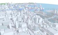街の線画イメージ と人