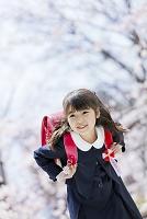 桜の咲く公園で笑うランドセル姿の新一年生