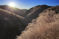 長野県 長和町 美ヶ原 落合大橋から望む南東方向の山並みと霧...