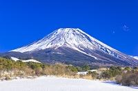 山梨県 富士山と富士ヶ嶺の雪景色
