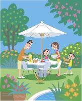 イラスト 庭で食事をする家族